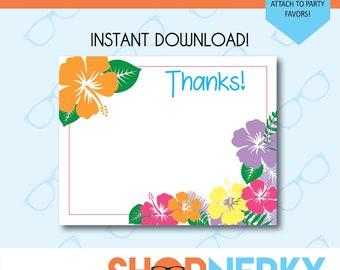 PRINTABLE Luau Pool Party Themed Thank You Card