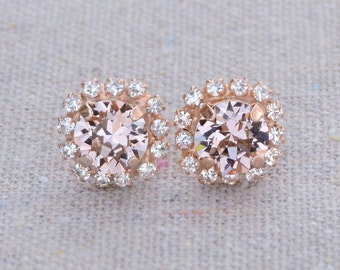 Swarovski Blush Pink Brilliant Diamond Cut Crystal Faux Diamond Pave Halo Rose Gold Bridal Post Earrings Wedding Bridesmaids Gifts