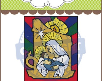 Stained Glass Mary & Baby Jesus Graphghan,Graphghan,Crochet Pattern Graph,Chart,PDF Instant Download