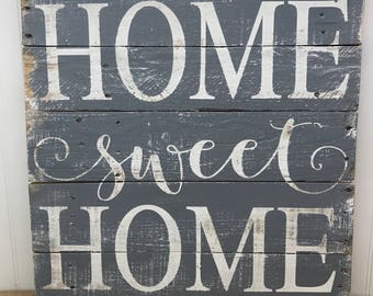 Home Sweet Home Wood Sign - Rustic Pallet Wall Art - Wooden Home Sign - Housewarming Gift - New Home Gift - Living Room Decor - 21x21