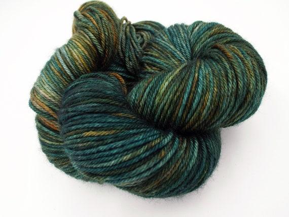 Hand Dyed Yarn 100% Superwash Merino Yarn Worsted Weight Yarn - 220 Yards - Variegated Teal Yarn Blue Yarn Green Yarn Grey Copper - Bohemian