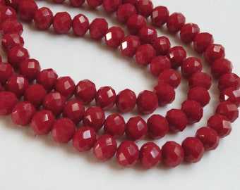 Light Crimson Red faceted rondelles 10x8mm full strand siam red crystal PF001-18-5