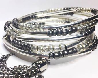 Elegant silver/grey wire wrap bracelet