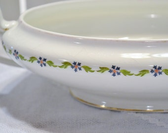 Vintage Serving Bowl No Lid Blue Green Floral Design Florence Cook Pottery Co PanchosPorch