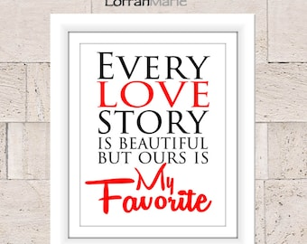 Love Printable, Valentines Print, Wedding Print, Red and Black, Wall Art, Instant Download, Home Decor, Love Typography, Artwork, Printable