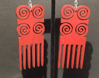 Red Dwennimmen Comb Earrings