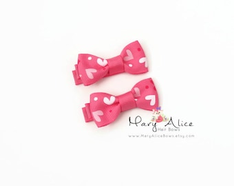 "Valentine's Day Baby Hair Bow Set of 2- 1.75"" Girls Hair Bow, Toddler Hair Bow, No Slip Alligator Clip- Made to Order"