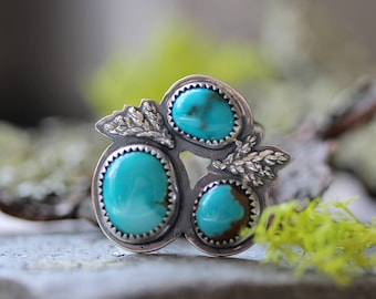 Sierra Nevada Turquoise Ring/ Natural Turquoise/Three Stone Ring/ Woodland Ring/ Fern Ring/ Pine Ring/ Sterling Silver Ring/ Fits Size 6.75