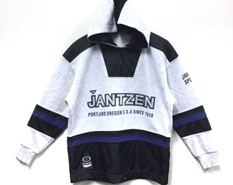 Rare!!! Vintage Jantzen Hoodie Sweater Jantzen Big Logo Spellout Half Zipper