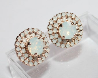Valentin's gift,White Bridal Earring,Opal stud earrings,Rose Gold,Statement,White Opal,Halo stud earrings,Pave Earrings,Swarovski®,to Her