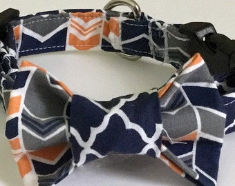 Navy Blue & Gray Bow Tie Collar for Male Dogs and Cats