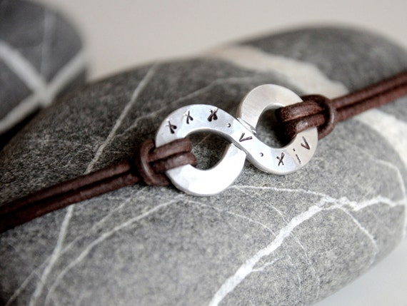Personalized Xl Infinity Bracelet Big Charm And Leather With