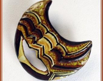Broche étnico de diseño, broche marrón y amarillo, joyería artesanal para chaqueta, regalo para mujer, regalo San Valentin, broche pintado.