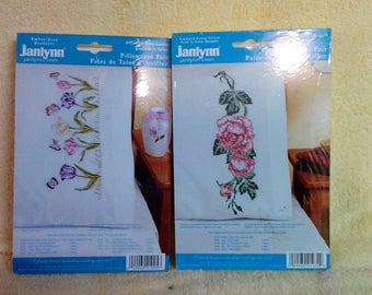 Kit- Pillowcase Pair,for Embroidery or Cross stitch,  Tulip Garden or Roses, by Janlynn.