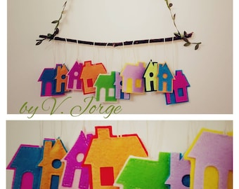 Houses Garland wall decoration, felt decoration, felt garland