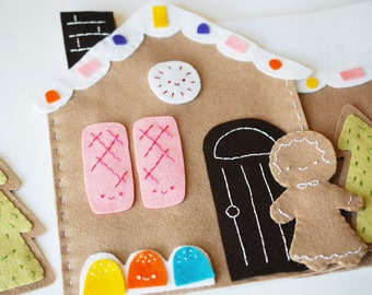 Sweet Gingerbread Scene - Felt Play Set Project PDF Patterns and Instructions