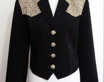 Cheetah jacket, M, L, black jacket, cropped jacket, western jacket, short jacket, animal print jacket, rockabilly jacket