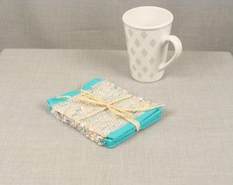 Handwoven Rag Coasters, set of 4