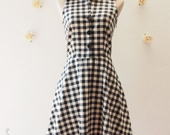 Shirt Dress Black Gingham Dress Vintage Style Dress Summer Dress Sundress Black Party Dress Dancing Dress Check Dress