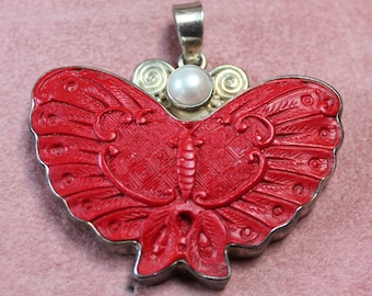 Carved Cinnabar, Pearl and Sterling Butterfly Pendant By Sajen/Designer Carved Cinnabar Butterfly Pendant/ Birthday/Christmas/Anniversary
