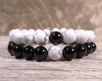 8mm White Howlite, Black Onyx, Men's Bracelet, Women's Bracelet, Bracelets for Men, Bracelet Stack , Gemstone Bracelet, Bracelets for Women