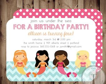 Mermaid Birthday Invitation, mermaid birthday, mermaid birthday invitation,mermaid, girl birthday