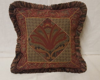 """15""""x15"""" Decorative Multi-pattern Pillow Cover with Fringe & Cordette"""
