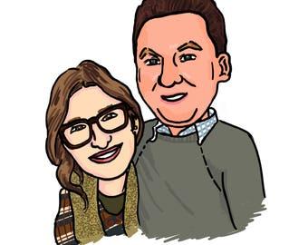 Custom Cartoon family Portrait Illustration // caricature drawing // digital jpg