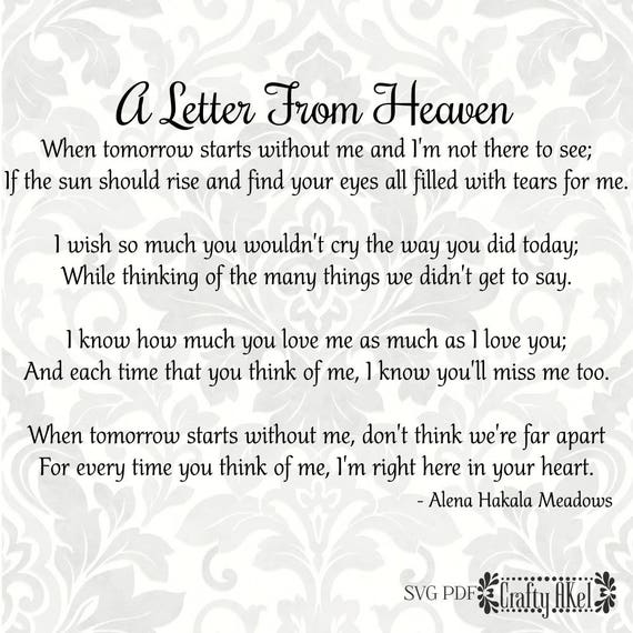 A Letter From Heaven Poem Bereavement Mourning Grief