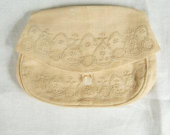 SALE WAS 18 Vintage 1930s Embellished Linen Clutch ret
