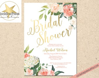 Floral Bridal Shower Invitations - Gold, Peach, Coral, Pink, Garden Brunch Shower _ 1309