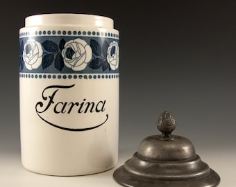 Vintage Ceramic Farina Counter Storage Jar with a Metal Lid