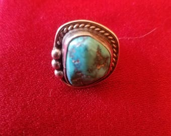vintage sterling silver turquoise Navajo ring