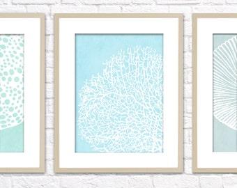 Ocean Set Art Print / Choose from 6 Sea Shell Designs / 8x10 / Digital Print Wall Art Poster