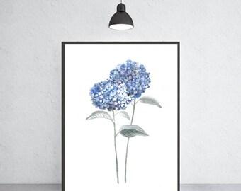 Hydrangea watercolor art print hydrangea painting, Flower painting, Floral art print, Botanical art