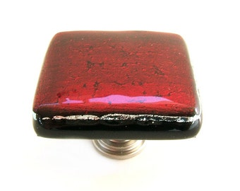 Ruby Red with Silver Lining Dichroic Glass Knob