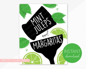INSTANT DOWNLOAD Mint Juleps & Margaritas Sign   8X10 Kentucky Derby Party Sign   Horse Race Party   Cinco de Derby   Derby do Mayo