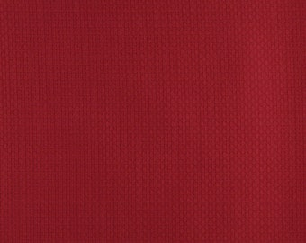 Red Basket Weave Jacquard Woven Upholstery Fabric By The Yard | Pattern # D341