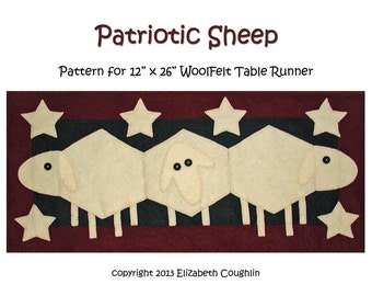 PDF pattern for a 12 x 26 inch WoolFelt table runner: Patriotic Sheep