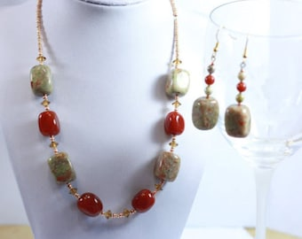 Chunky Earth tone Statement Necklace and earrings in red copper stone Handmade Jewelry Accessories - Womens Fashion Gift Ideas