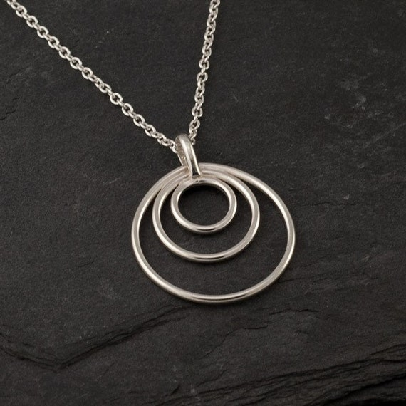 "Sterling Silver Pendant- Sterling Silver Necklace- Silver Circles Necklace- Sterling Silver Jewelry Handmade- ""Circle Trio Pendant"""