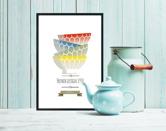 Vintage poster with french design, old bowls, french style poster.