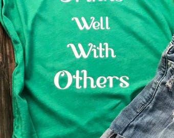 Drinks Well With Others Green Racer Back Tank