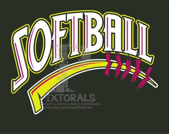 Softball logo, JPG, PNG, pdf and EPS formats as Vector, Softball Tee Design