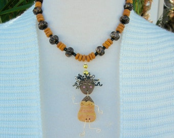 Dancing Caribbean Girl Doll, Chocolate Poly Doll, Wood, Lucite & Glass Beads, the Doll Collection, Necklace Set by SandraDesigns