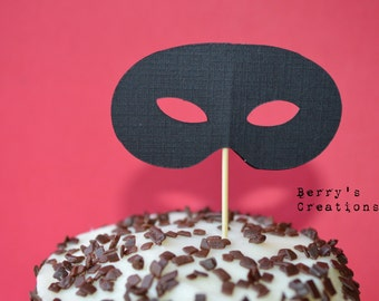 Black Mask Cupcake Toppers. Cake Decor. Birthday Decor. Baked Goodies Decor.