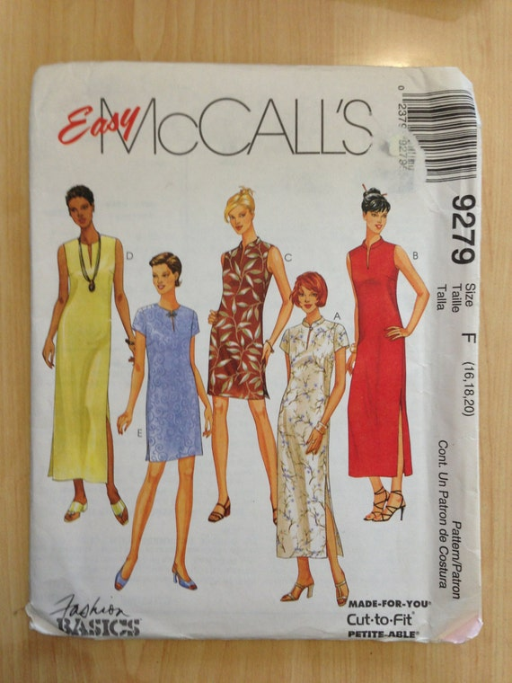 McCalls Sewing Pattern 9279 Misses Dress in Two Lengths Size 16-20