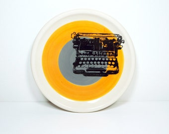 little plate chicago typewriter in colour block of orange & storm grey. Made to Order.