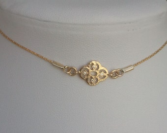 Delicate gold choker necklace, tiny gold flower charm, dainty gold necklace, Gold choker bridesmaid necklace, tiny gold chain choker