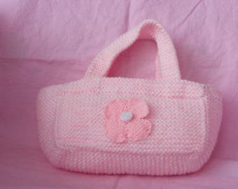 White/Pink handbag is hand knitted